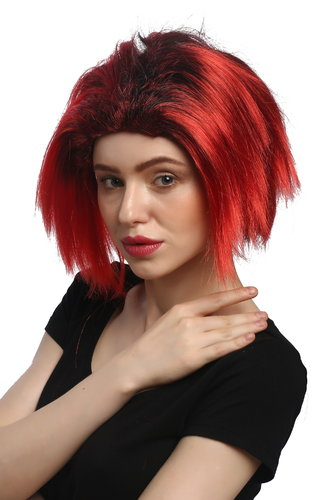 Lady Party Wig Halloween Vamp short straight middle parting red black strands She-Devil Demon