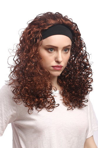 WIG ME UP ® - 90836-ZA33B Lady Party Wig Halloween Curls Headband Volume Brown Caribbean 80s Style