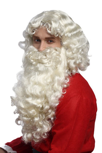 Super Deluxe Santa Claus Wig and Beard white grey and blond massive volume God Prophet Holy Man