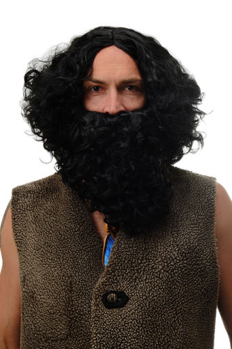 8115-A+B-P103 Man Party Set Wig & Beard black unruly Taliban Bandit Prophet Hermit