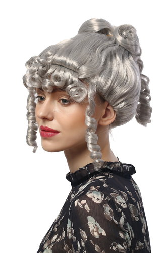 90713-ZA68A Lady Party Wig Halloween historic cosplay Victorian Baroque grey curling strands