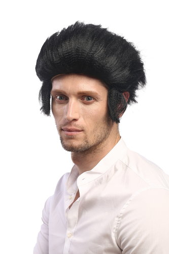 90640-P103 Man Party Wig Halloween Mod Rockabilly Wolfman Werewolf quiff sideburns black