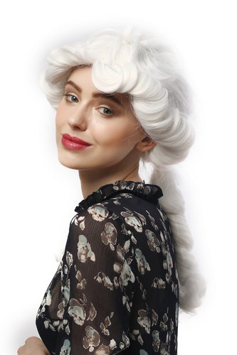 Lady Party Wig historic Baroque Renaissance Victorian romantic look curly coiling ponytail white