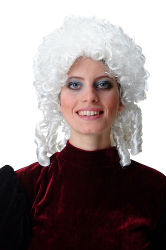 Lady Man Party Wig Fancy Dress Baroque Lord Renaissance white curls coils Noble French King Queen