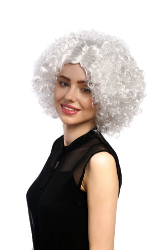 Lady Party Wig Halloween funkadelic white Afro style 60s 70s curls with straightened middle parting