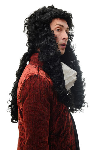 Man Lady Party Wig Halloween Fancy Dress black long baroque curls King Louis court fop aristocrat