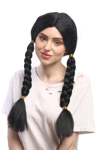 Lady Party Wig Fancy Dress black long braided braids Indian Native American Maiden middle parting