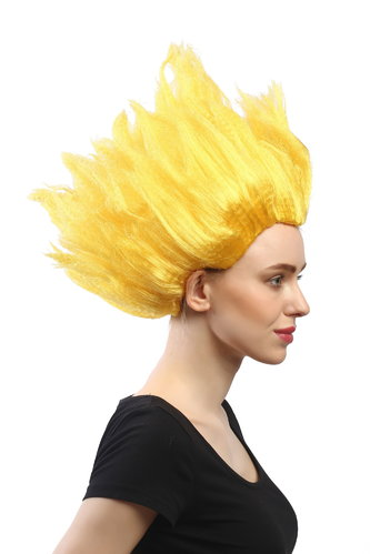 Lady Gents Man Party Wig Halloween Fancy Dress Fire Demon Devil Flower Fairy yellow teased high