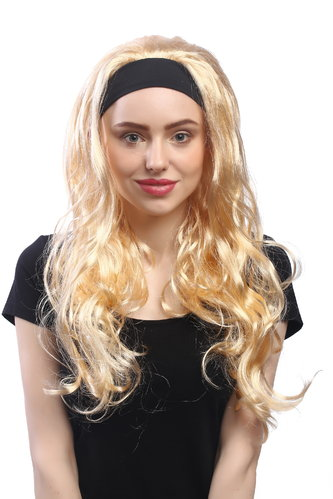 86380-ZA02 Lady Party Wig Halloween long golden blond straight with black headband 23""
