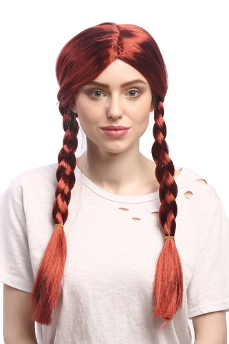 Lady Party Wig Halloween Fancy Dress long braided pigtails middle parting copper red 23""