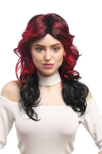 Lady Party Wig Fancy Dress TV Soap Opera Diva black red ombre parting teased wavy layered long