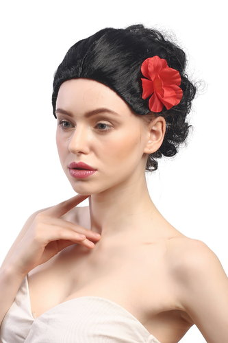 Lady Party Wig Fancy Dress Carmen traditional hairbun with rose Spain Argentina Bolero Tango black