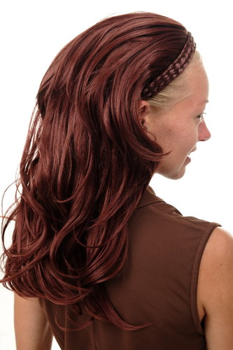 90607-35 Halfwig Hairpiece Extension with braided hair circlet long wavy red brown dark auburn 23""