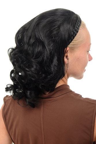 Halfwig Hairpiece Extension with braided hair circlet shoulder length wavy to curled deep black 14""