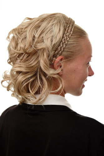Halfwig Hairpiece Extension braided hair circlet shoulder length streaked blond mix platinum tips