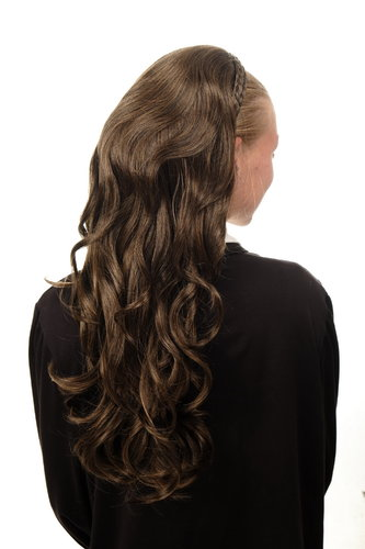 Halfwig Hairpiece Extension braided hair circlet very long wavy dark brown mixed blond 25""