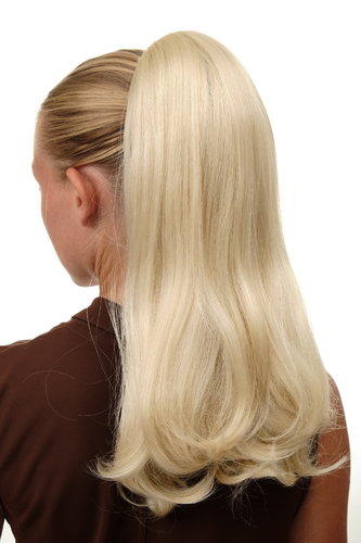 BRO-525-613 Ponytail Hairpiece extension long straight but voluminous claw clamp platinum blond 17""