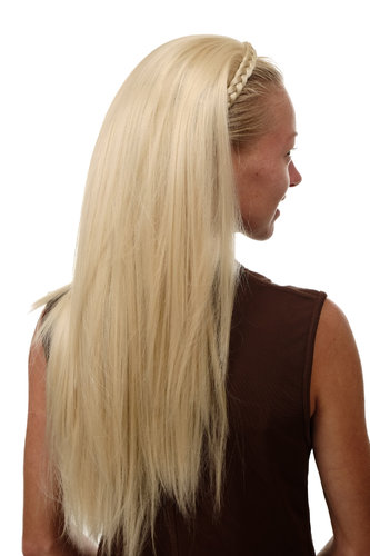 Halfwig Hairpiece Extension with braided hair circlet hoop long straight platinum blond 27""