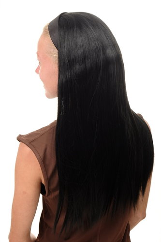 WH5040-1B Halfwig Hairpiece Extension with black hair hoop very long straight off black 25""