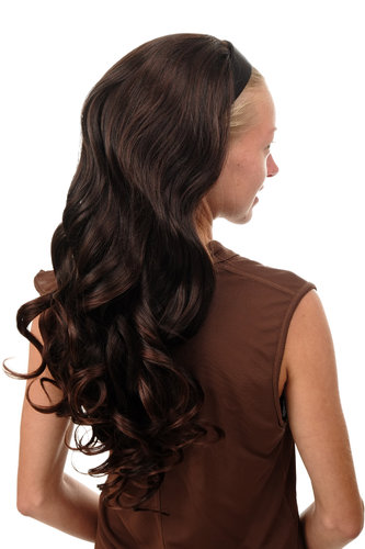 WH5044-2T33 Halfwig Hairpiece Extension with black hair hoop very long wavy mahogany brown mix 25""