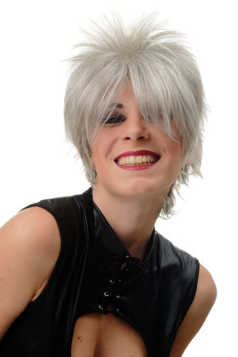 BLUE144-51 Lady Quality Wig short naughy spiky 80s style teased Wave Punk silver grey
