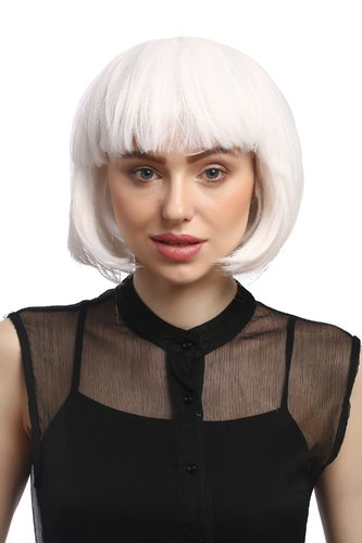 Lady Wig Bob fringe short sexy white disco PW0114-P60 Cosplay burlesque