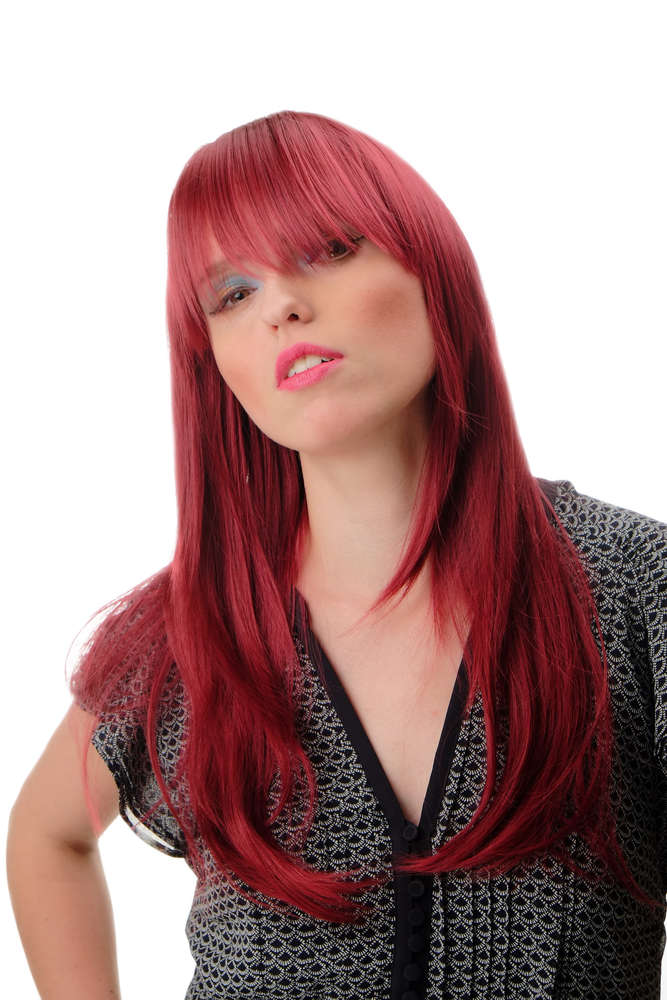Wig Me Up Gfw855 39 Lady Quality Wig Long Straight Bangs Burgundy Red