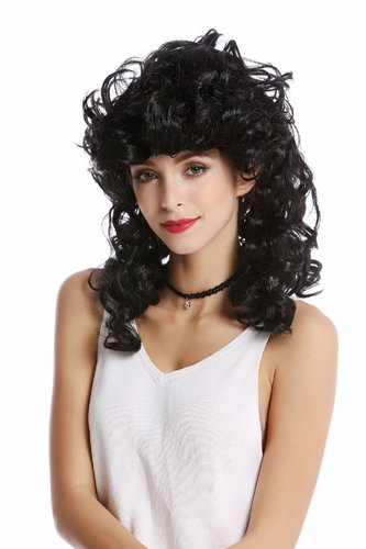 0548-ZA103 Wig Lady Women Halloween Carnival long curly curls teased Greek Goddess black
