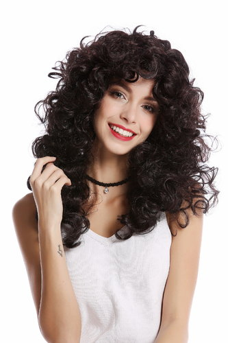 Wig Lady Women Halloween Carnival very voluminous Mane curls curly dense black brown mixed