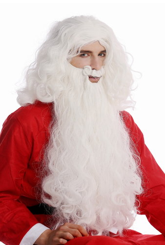08-A+B-ZA60 Wig & Beard white Santa Claus costume God Prophet