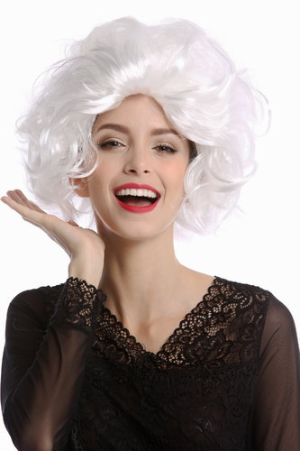Wig Lady Women Halloween Hollywood Diva curly wavy short wild teased whiteblond bright blond