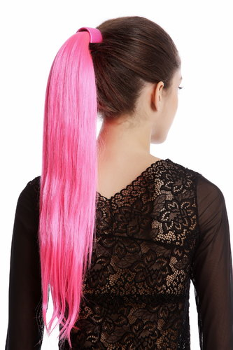 Srosy-C8 Hairpiece PONYTAIL with comb and snapwrap long straight bright pink 21""