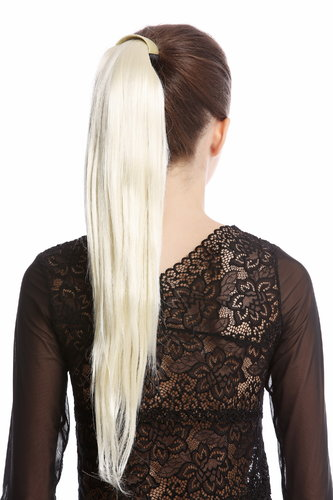 Srosy-613 Hairpiece PONYTAIL with comb and snapwrap long straight platinum blond 21""