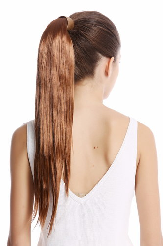 Srosy-30 Hairpiece PONYTAIL with comb and snapwrap long straight dark brown 21""