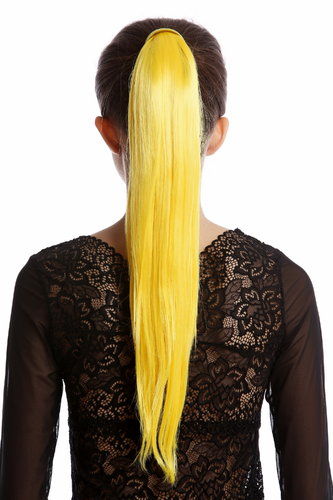 Srosy-C2B Hairpiece PONYTAIL with comb and snapwrap long straight bright yellow 21""