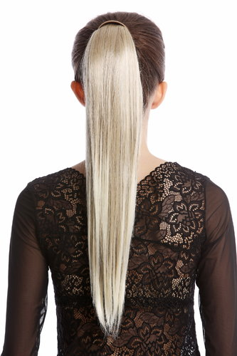 Hairpiece PONYTAIL with comb and snapwrap long straight ash blond streaked platinum highlights 21""
