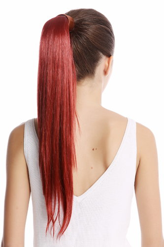 Srosy-135 Hairpiece PONYTAIL with comb and snapwrap long straight dark copper red 21""