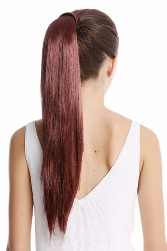 Srosy-33 Hairpiece PONYTAIL with comb and snapwrap long straight dark red brown auburn 21""