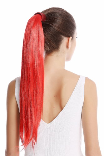 Srosy-C13 Hairpiece PONYTAIL with comb and snapwrap long straight bright fiery red 21""
