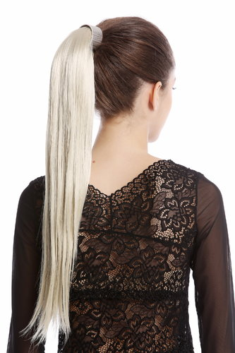 Srosy-88 Hairpiece PONYTAIL with comb and snapwrap long straight light blond 21""