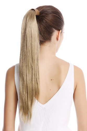 Srosy-24 Hairpiece PONYTAIL with comb and snapwrap long straight light ash blond 21""