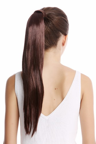 Srosy-33 Hairpiece PONYTAIL with comb and snapwrap long straight mahogany dark auburn 21""