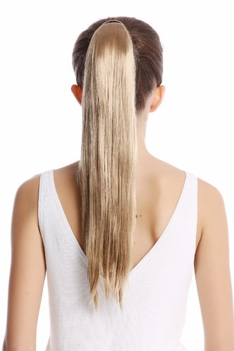 Srosy-22 Hairpiece PONYTAIL with comb and snapwrap long straight ash blond 21""