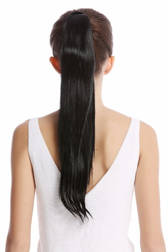 Srosy-1 Hairpiece PONYTAIL with comb and snapwrap long straight deep black 21""