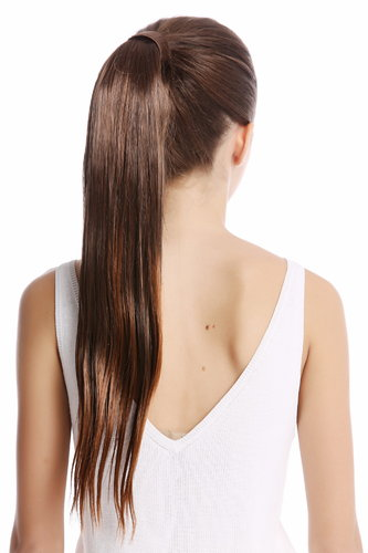 Srosy-2T30 Hairpiece PONYTAIL with comb and snapwrap long straight chestnut brown mix 21""