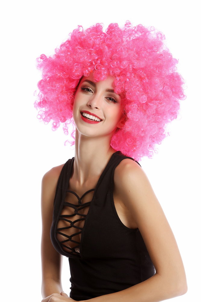 CURLY AFRO WIG PINK COLOUR PARTY CLOWN FUNKY DISCO MENS LADIES 70S FANCY DRESS