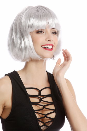 Lady Wig Bob fringe short sexy grey disco PW0114-PC309 Cosplay burlesque