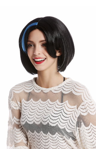 91254-ZA103+ZA4 Wig Ladies Women Halloween Carnival short Bob Bobo black blue strands at parting