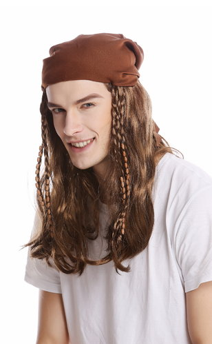Wig Ladies Men Halloween Carnival brown long Bandana plaited braids Pirate Rocker Biker Gang