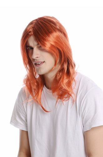 Wig Ladies Men Halloween Carnival shoulder length straight parting golden orange ed brown mix